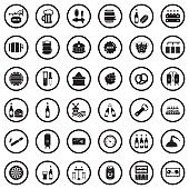 Beer Icons. Black Flat Design In Circle. Vector Illustration.