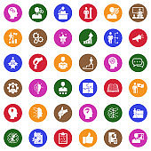 Skill Icons. White Flat Design In Circle. Vector Illustration.