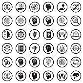 Brain Icons. Black Flat Design In Circle. Vector Illustration.