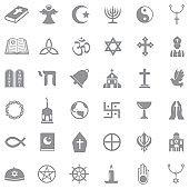 Religion Icons. Gray Flat Design. Vector Illustration.
