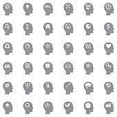 Thinking Heads Icons. Gray Flat Design. Vector Illustration.