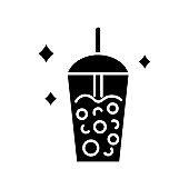 Milk bubble tea glyph icon. Taiwanese popular drink. Street food. Isolated vector stock illustration