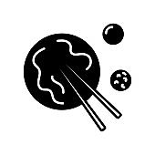 Taiwanese Niu Rou Mian outline icon. Chinese beef noodles with food sticks and sauce. Isolated vector illustration