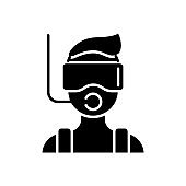 Diver with mask and snorkel glyph icon. Maldives attraction. Travel entertainment. Isolated vector illustration