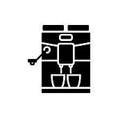 Espresso coffee machine glyph icon. Barista professional device. Black silhouette symbol. Isolated vector illustration