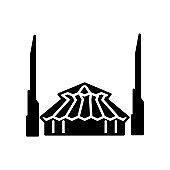 King Salman Mosque glyph icon. Maldives culture. Islam religion. Black filled symbol. Isolated vector illustration
