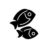 Two fishes glyph icon. Maldives seafood and diving. Tropical resort. Isolated vector stock illustration