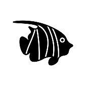 Zebra angelfish glyph icon. Marine life. Maldives diving. Black filled symbol. Isolated vector illustration