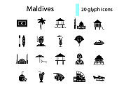 Maldives glyph icons set. Bungalow and famous buildings in Male. Palm. Black filled symbol. Isolated vector illustration