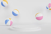 Podium or pedestal for products or advertising with inflatable beach balls on white background, summer minimal 3d render