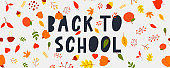 Back to School Sketchy Doodles with Hand Drawn.Vector Illustration Autumn leaves,lettering.Design Elements Backdrop,background. Teachers day.
