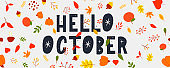 October lettering text sale vector banner with colorful autumn leaves