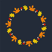 Vector wreath of autumn leaves and fruit in watercolor style. Beautiful round wreath of yellow and red leaves, acorns, berries, cones and branches. Decor for invitations, greeting cards, posters.
