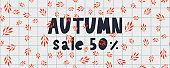 Autumn illustration, banner, sale vector, fall, lettering, card