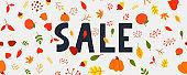 Autumn sale illustration, banner, vector, fall, lettering, card