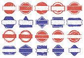 Frame stamps. Grunge texture discount badges, rubber texture framed marks. Rubber sale stamps vector illustration set