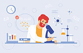 Scientist work with microscope. Medical laboratory worker, scientific researcher with laboratory equipment vector illustration. Laboratory pharmaceutical scientist
