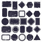 Rubber stamps. Grunge texture labels, retro rubber rectangular and circle frames. Distressed texture stamp vector illustration set