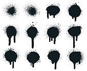 Spray paint dots. Splatter painted drips, grunge art circle texture, graffiti dirty sprayed paints. Abstract paint texture vector illustration set