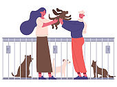 Pet adoption. People adopting dog from pet shelter, happy new owners hugging puppy. Animal adoption isolated vector illustration