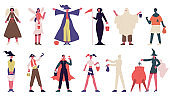 People in Halloween costumes. Happy halloween trick or treating spooky characters vector illustration set. Halloween fancy dress party