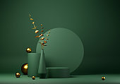 Abstract geometric shape green color minimalistic scene with podium