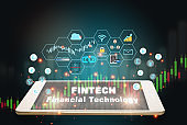 Financial technology words on smart phone screen with fintech theme background