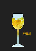 Watercolor abstract wine background with white wine glass