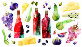 Watercolor abstract red wine bottles and snack illustration