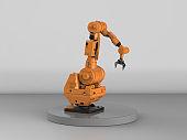 robotic arm on grey background