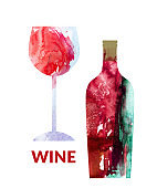 Watercolor abstract wine set with red wine bottle and glass
