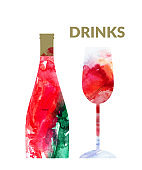 Watercolor abstract wine set with red wine or champagne bottle and glass