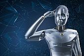 artificial intelligence robot or cyborg analyze