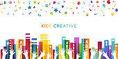 Colorful books, children hands up and fun letters confetti. Horizontal border. Kids creative conceptual vector illustration.