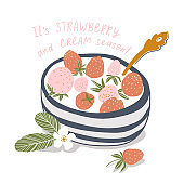 Yogurt cream with fresh strawberry in a saucer. Vector food illustration in hand-drawn style.