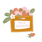 Strawberries in wooden box isolated on the white background. Vector illustration.