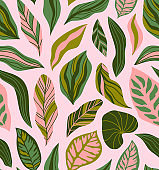 Tropical leaves hand drawn seamless pattern. Botanical trendy design in pink and green colors. Vector repeating design for fabric, wallpaper or wrap papers.