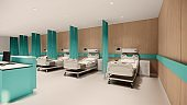 Hospital room with beds .Empty bed  and wheelchai in nursing  a clinic or hospital . 3d room and comfortable sofa rendering.Luxury patient bed  illustration.Modern hospital,health care concept.