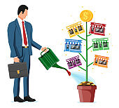 Successful franchise business with money tree