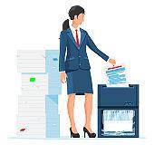 Woman Office Worker Shredding Documents.