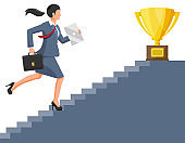 Businesswoman and gold trophy on ladder of success