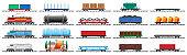 Set of train cargo wagons, cisterns, tanks, cars