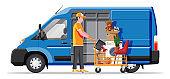 Delivery van full of home stuff inside.