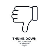 Thumb down editable stroke outline icon isolated on white background flat vector illustration. Pixel perfect. 64 x 64.