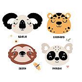 Set of cute vector animal head