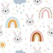 Rabbit and rainbow seamless pattern
