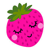 Cute strawberry fruit in love. Funny cartoon doodle draw.