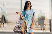 Woman Shopping, Happy Woman With Bags Enjoying Shopping, Woman In Shopping Mall