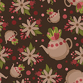 Seamless floral pattern in flat style with teapot and stylized flowers