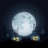 Halloween scary night vector background
